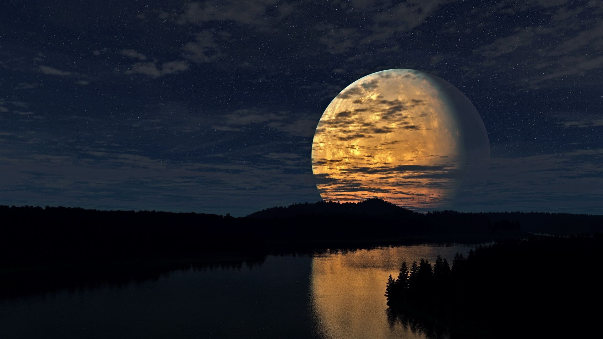 Download Wallpaper 1920x1080 Night Sky Moon Trees River