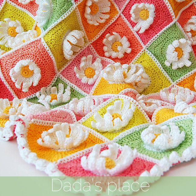 Patrón manta de ganchillo de la margarita Granny Square | Crochet ...
