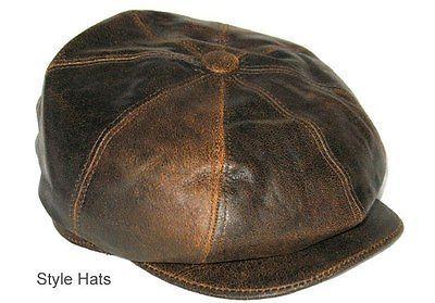 Sombrero para Cuero Hombre 100% Piel Oveja Dickensiano Repartidor Periódicos 6922e30badd