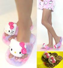 8f09b44a9 NWT Hello Kitty Fluffy Thong Slippers For Women 5/6,7/8,9/10 Brown Leopard