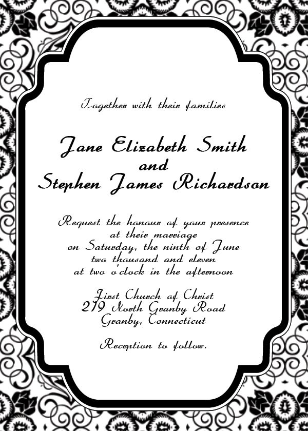 Wedding Invitation Template - Black and white Damask blank wedding ...