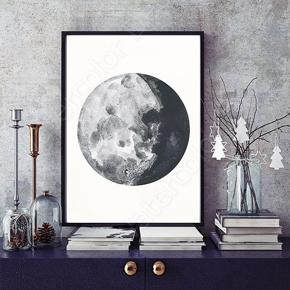Phases De La Lune Estampes Aquarelle Lot De 5 Tirages De Phases