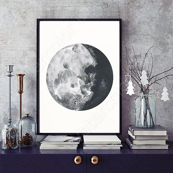 Phases De La Lune Estampes Aquarelle Lot De 5 Tirages De Phases