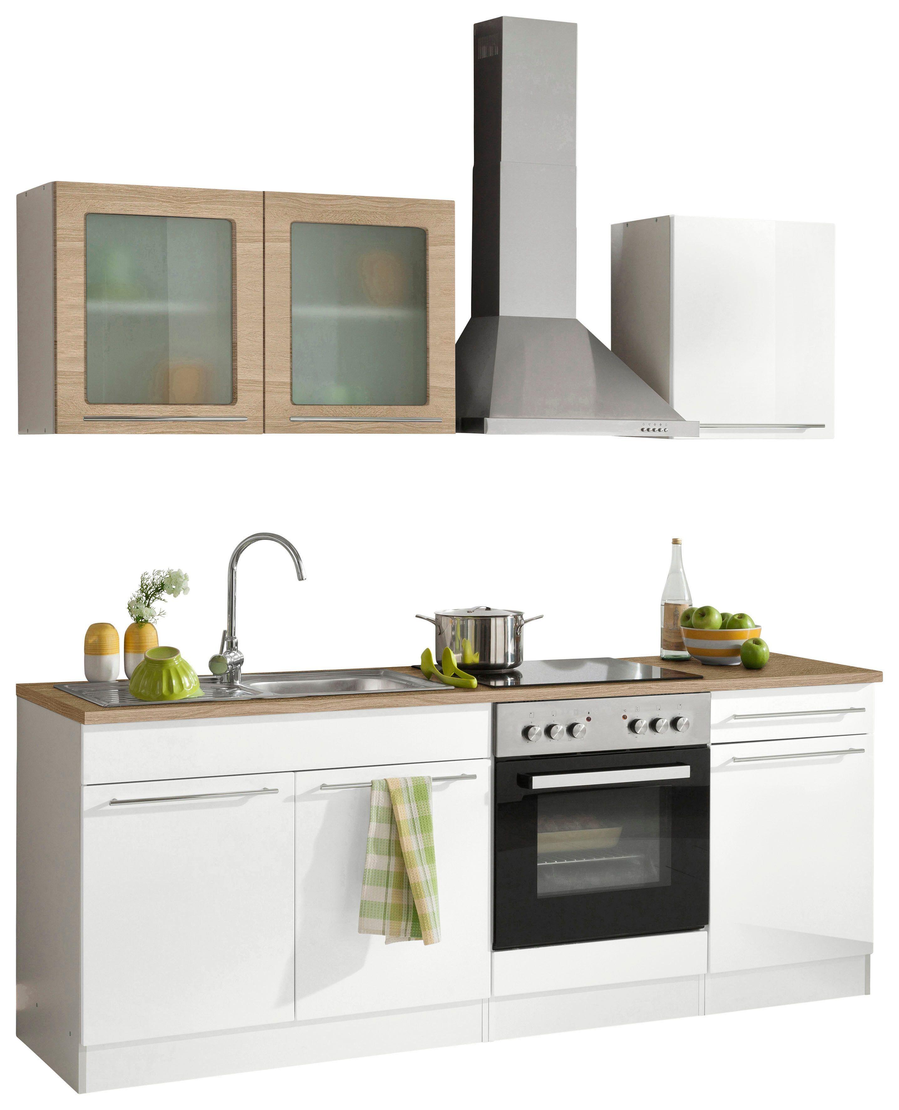 Küchenzeile weiß, »Malta«, pflegeleichte Oberfläche, Soft-Close ...