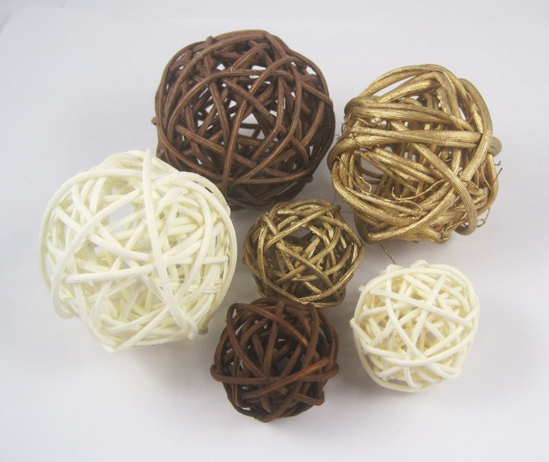 Decorative Rattan Balls Mixed 3Cm 5Cm 12Pcs Wedding Home Decoration Wicker Ball Rattan