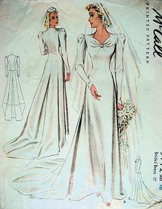 1940 Beautiful Wedding Gown Bridal Dress Sewing Projects In 2019