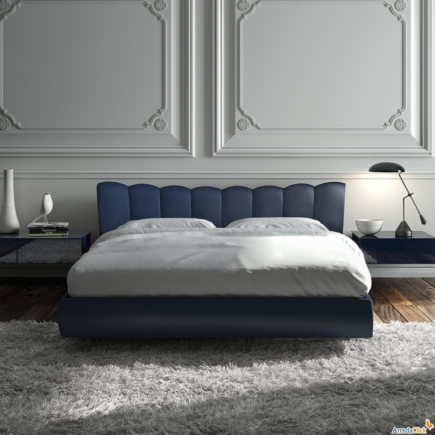 Blue  white  black   classy bedroom What an amazing wall   J Reid     Blue  white  black   classy bedroom What an amazing wall   J Reid English