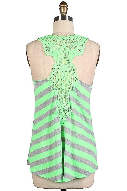 $29 - Striped Crochet Lace Tank - Color Options www.BetsyBoosBoutique.com