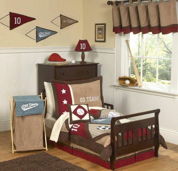 Kinderzimmer Jungs Braun Beige Blau Rot Tolles Design Baseball Vorhänge  Ideen Kissen Wanddeko