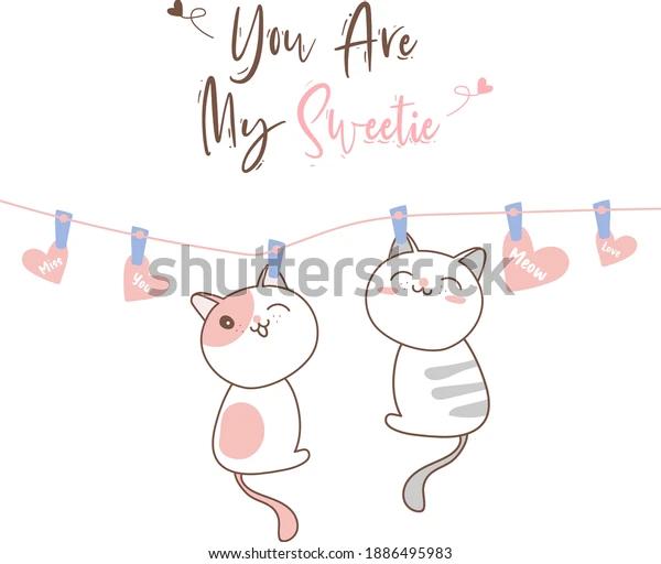 Cute Cats Hanging On Rope Design เวกเตอร สต อก ปลอดค าล ขส ทธ 1886495983 Valentine Doodle Handdrawn Cat Paw Cartoon Heart Love Shutterstock ในป 2021 ภาพประกอบ