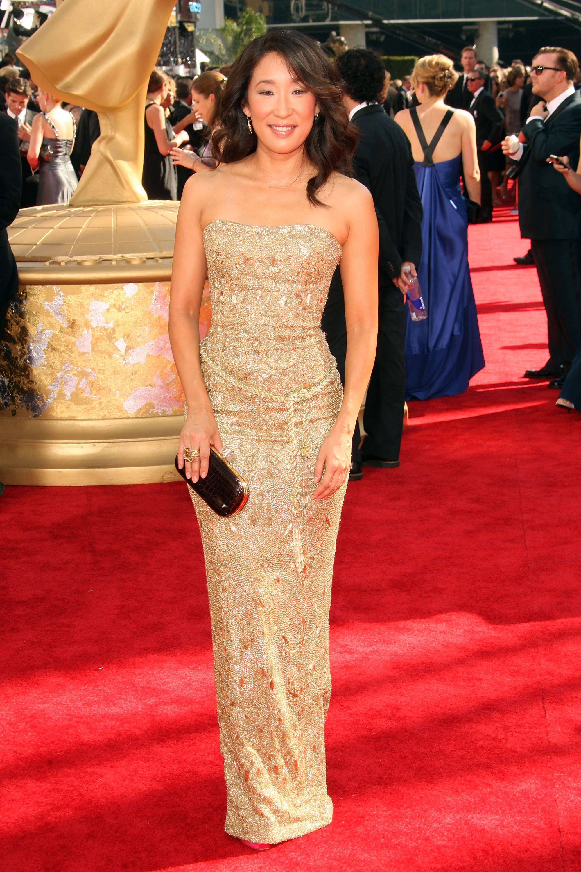 Sandra Gold Dress Emmy' Red Carpet In 2019