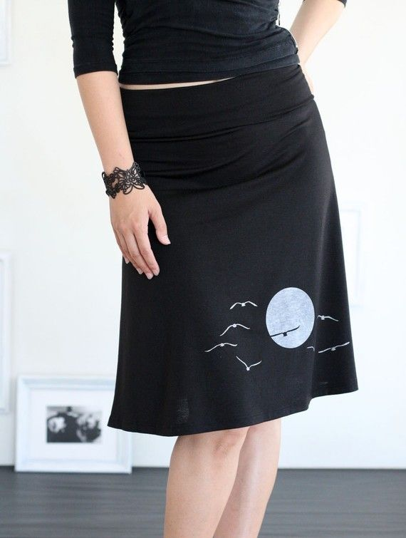 Black knee length skirt A-line jersey skirt - The sunset and the ...
