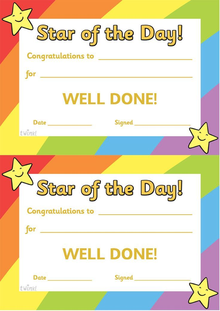 Twinkl Resources u003eu003e Star of the Day A4 Poster u003eu003e Classroom - copy pre kindergarten certificate printable