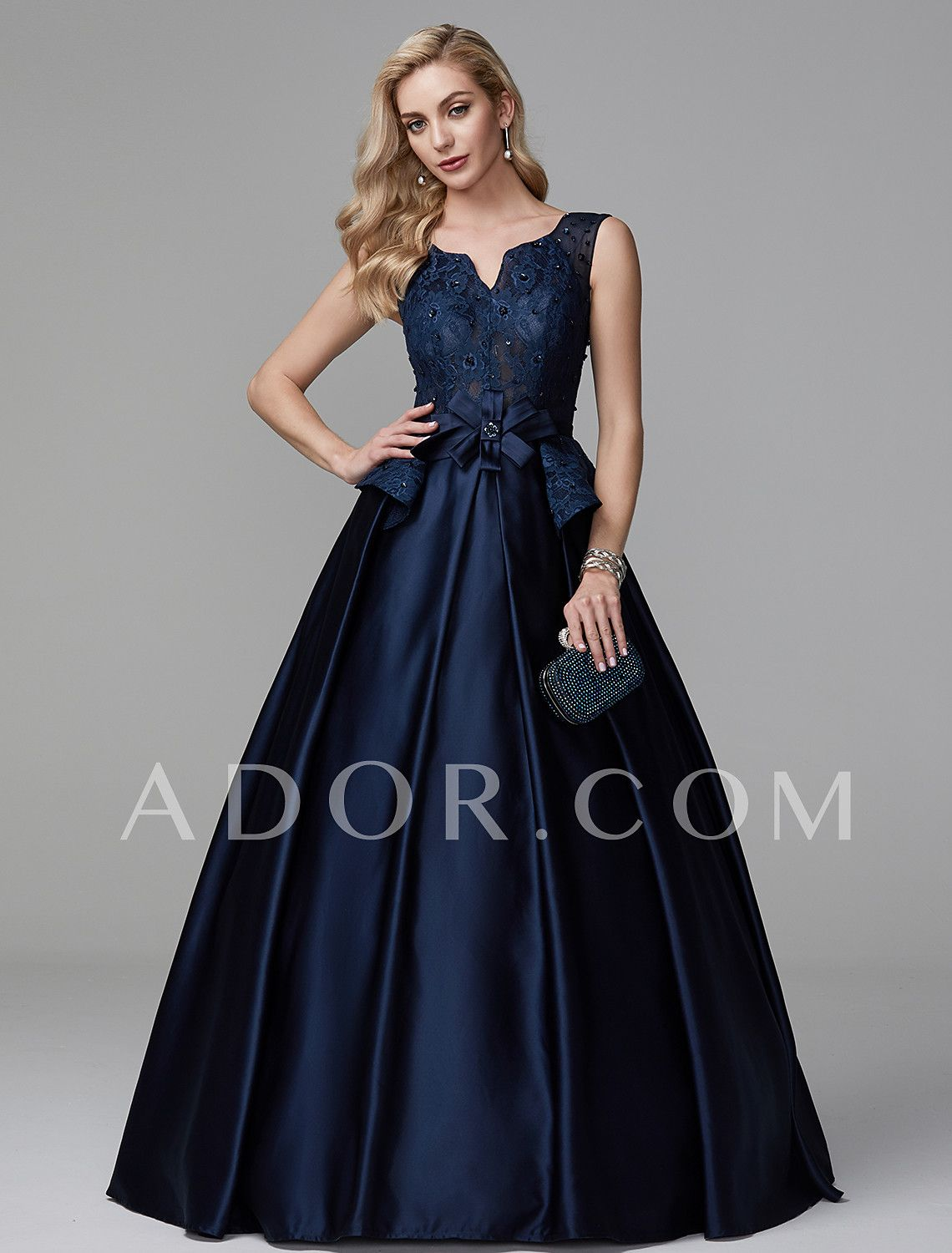 e9c0fd49e5a ADOR Evening Dress A-Line V Neck Floor Length Lace   Satin Lace Up with