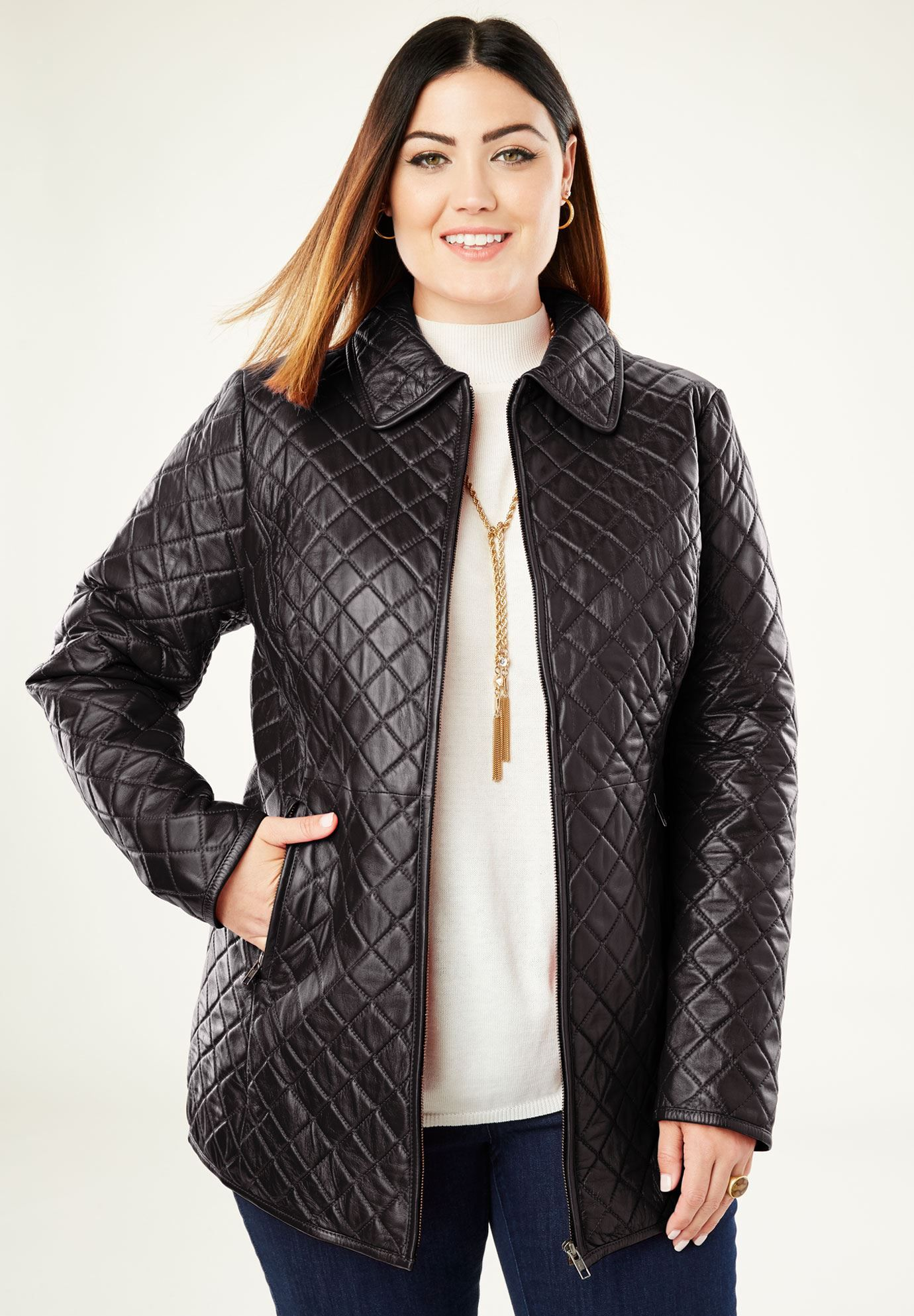 Quilted ZipFront Leather Jacket, BLACK 24W Plus size