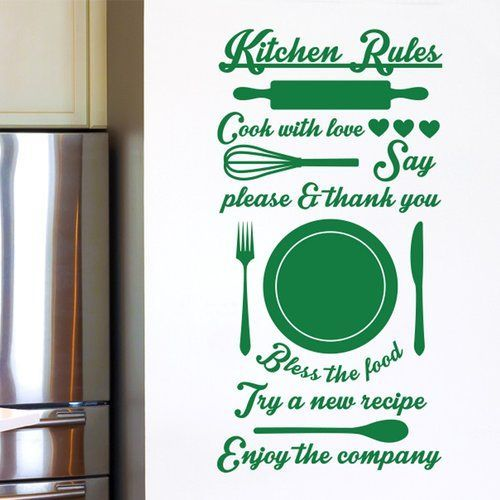 East Urban Home Kitchen Rules Cook with Love Try a New Recipe Wall Sticker #kitchenrules Kitchen Rules Cook with Love Try a New Recipe Wall Sticker Cut It Out Wall Stickers Colour: Green #kitchenrules