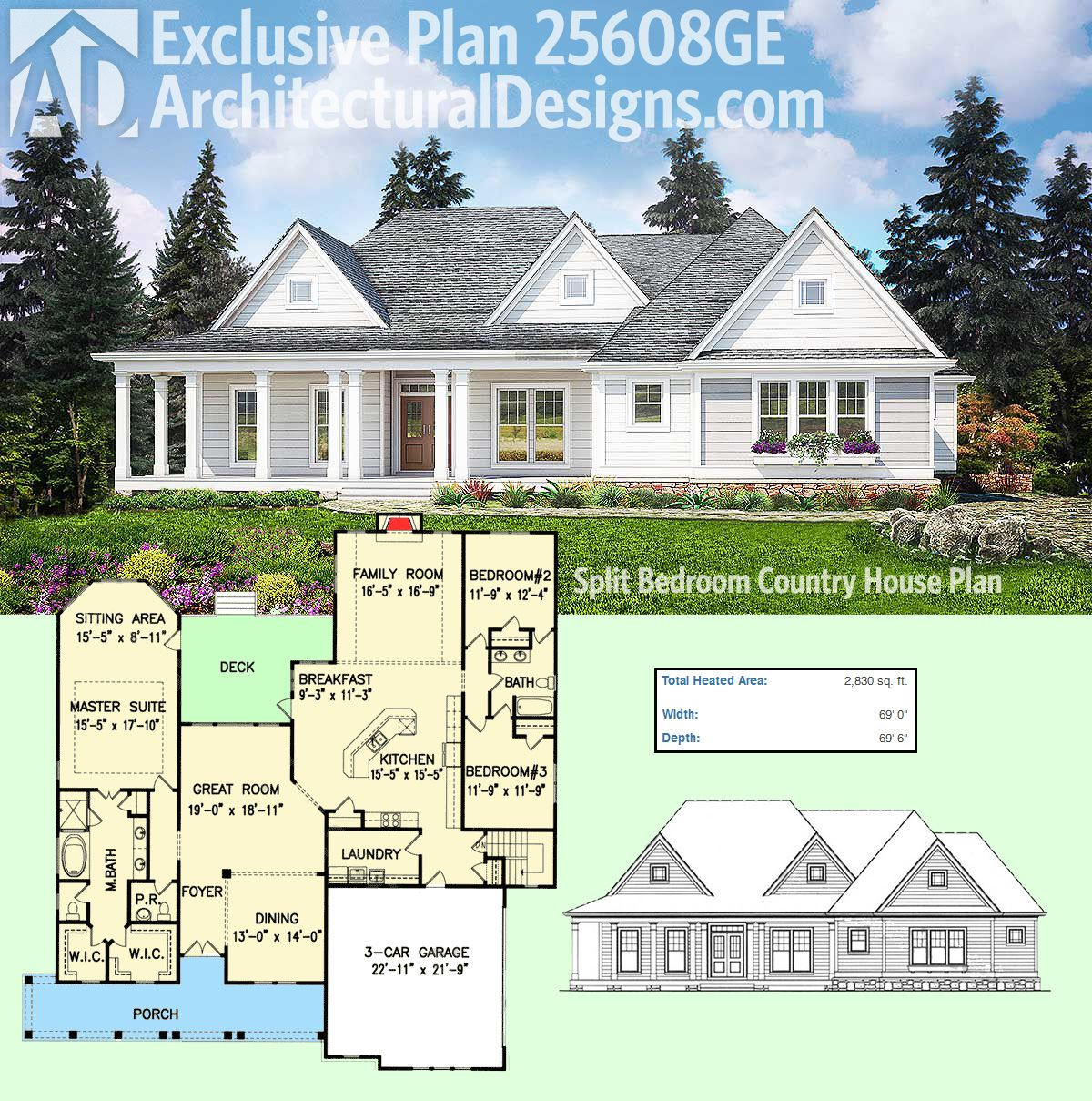 Plan 25608GE: Split Bedroom Country House Plan | House ...