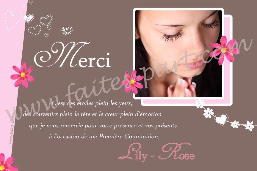 De belles fleurs sur votre carte de voeux première communion