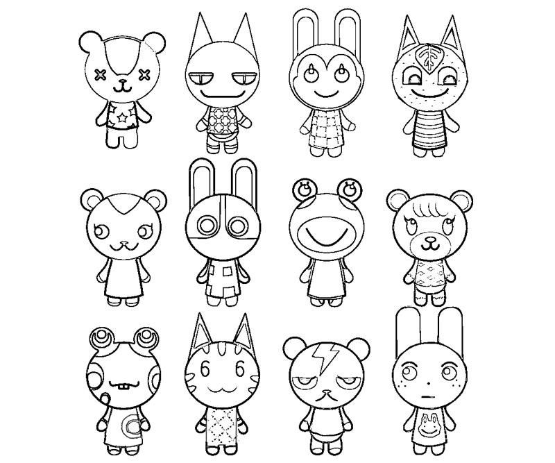 Animal crossing colouring page Animal crossing, Coloring