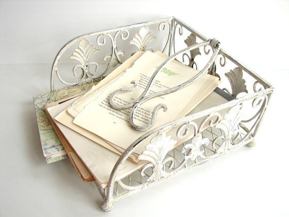 vintage shabby chic ornate white metal napkin holder by thirdshift rh pinterest ca