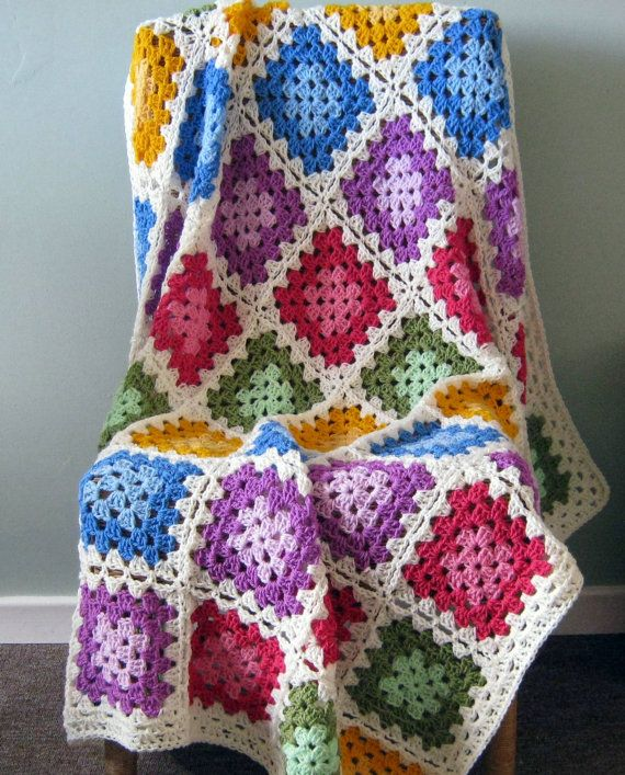 Colour Blocks GRANNY SQUARE Crochet Granny Blanket by Thesunroomuk ...