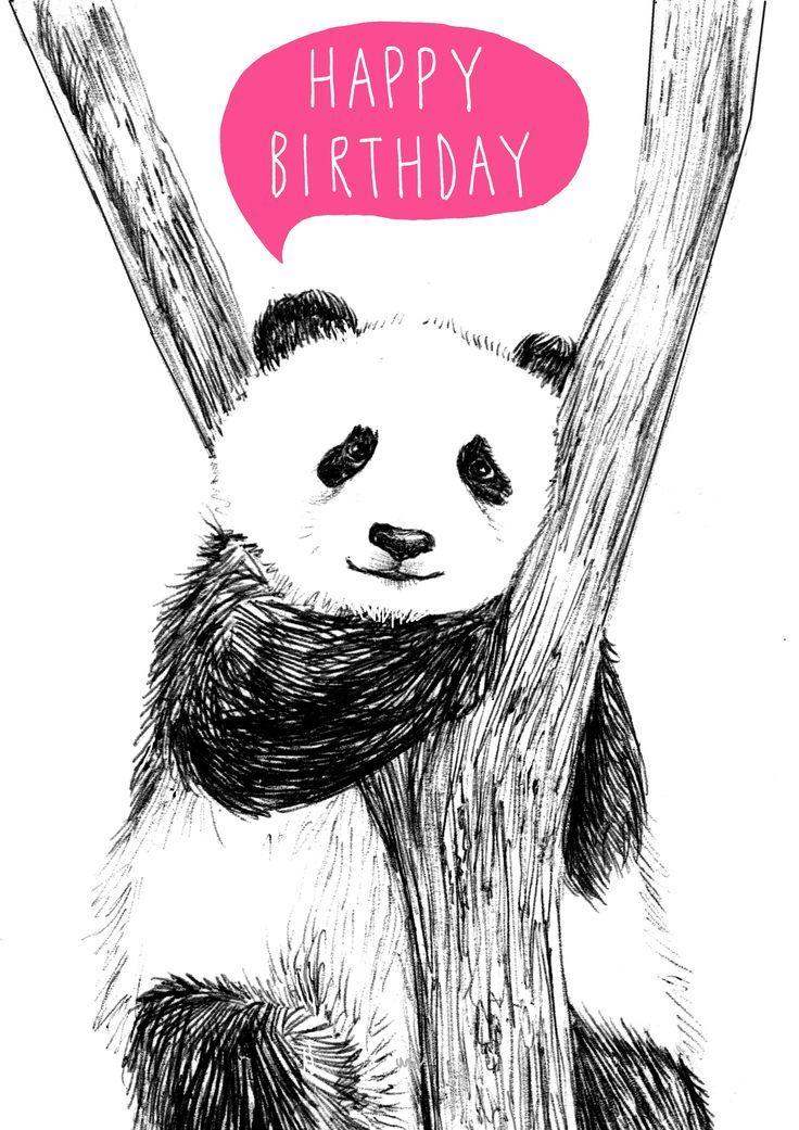 Поздравительная открытка с пандой, днем рождения сестре