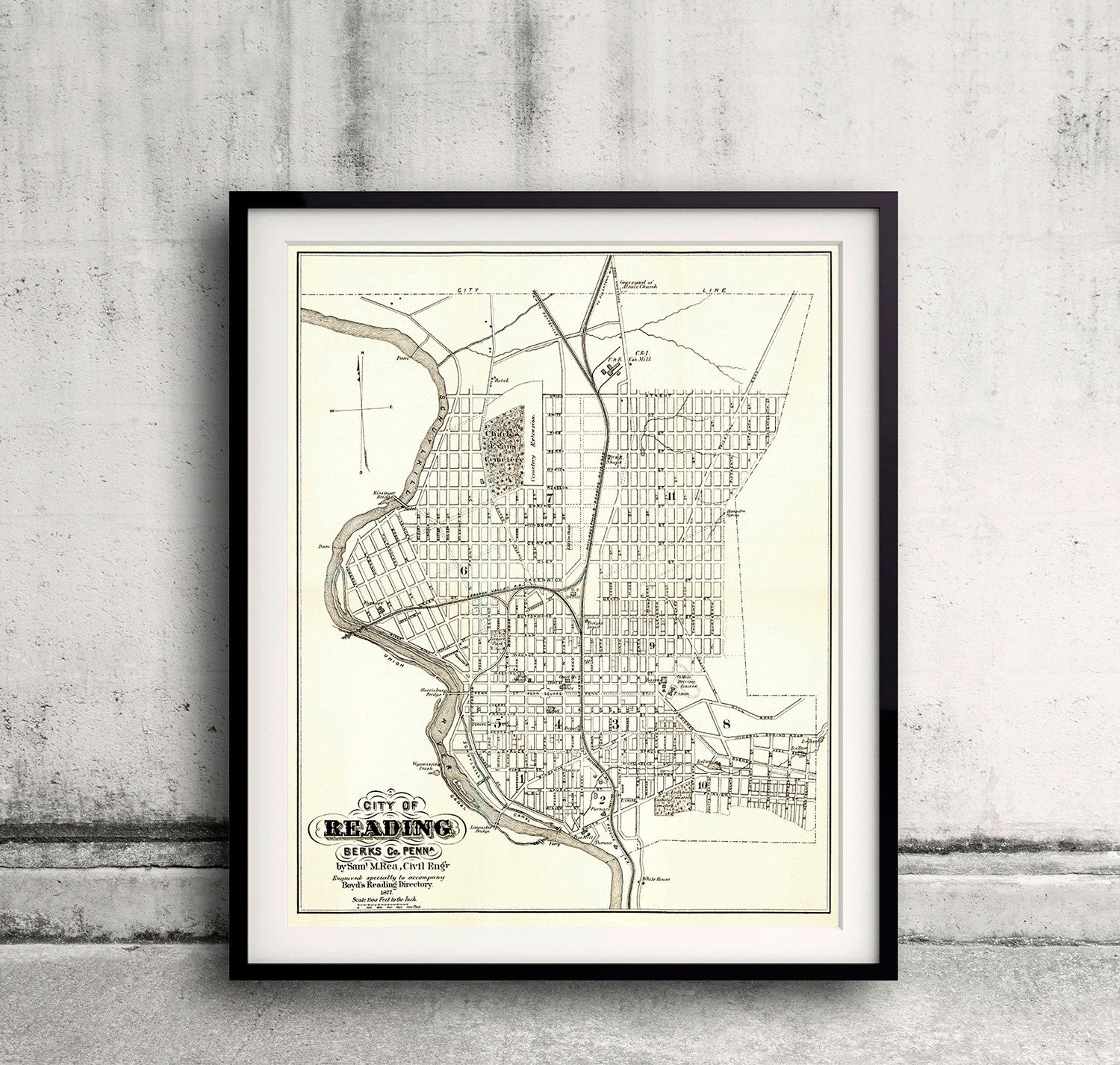 Map of Reading - Pennsylvania - 1877 - FREE SHIPPING - SKU 0091 by PaulMaps on Etsy