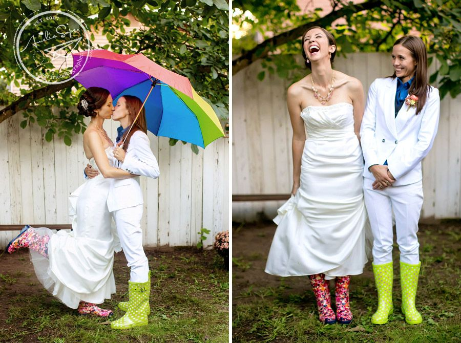 Same Sex Rainbow Wedding Brides With Rainboots Soper