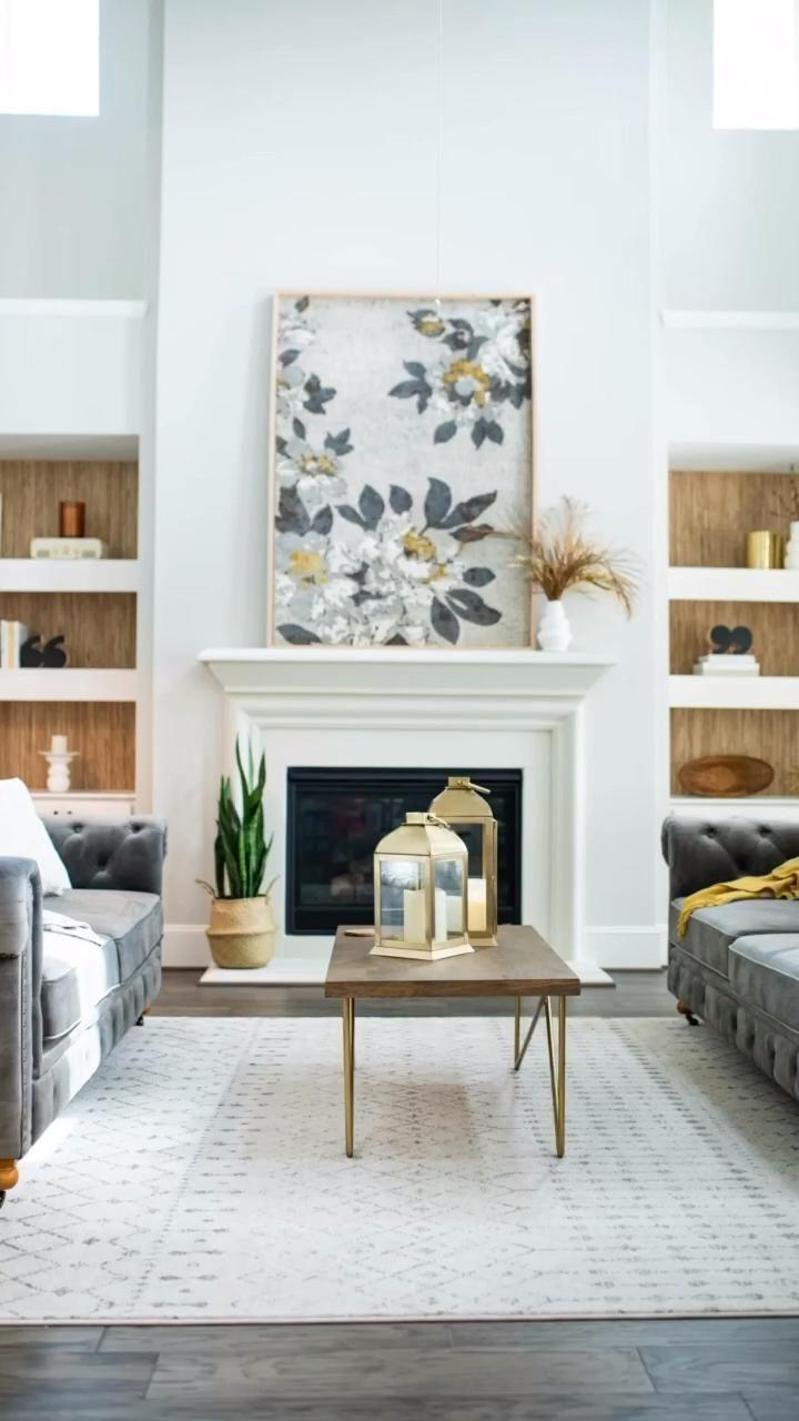 large wall decor living room: frame a rug for large mantle decor