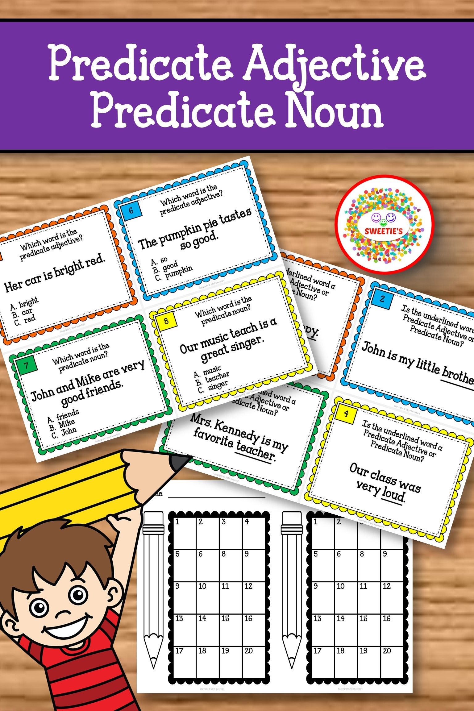 Predicate Adjective Predicate Noun Task Cards
