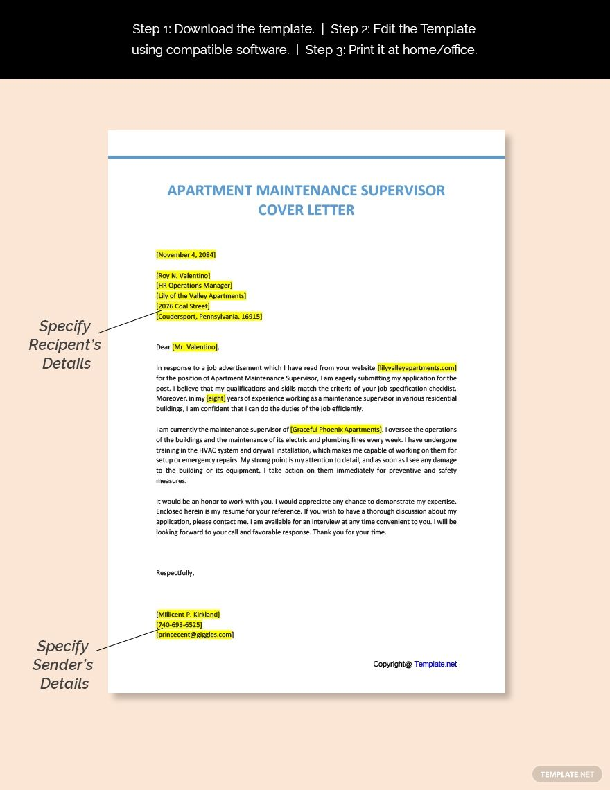 Free apartment maintenance supervisor cover letter