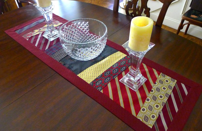 Table Runner Recycle Reuse Upcycle Old Neckties Sewed A Table Runner From Some Of My Husband S Old Ties Tie Crafts Old Ties Necktie Crafts