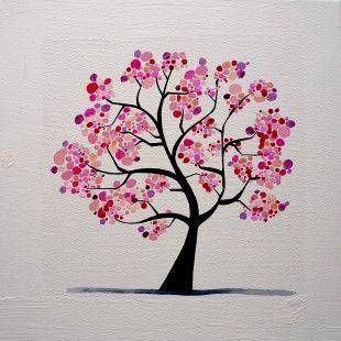 Tableau floral cerisier au printemps peintures par zouzou deco paysage chambre pinterest - Paysage peinture facile ...