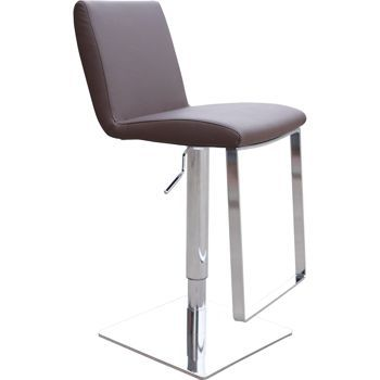 In White Leather Seville Adjustable Barstool
