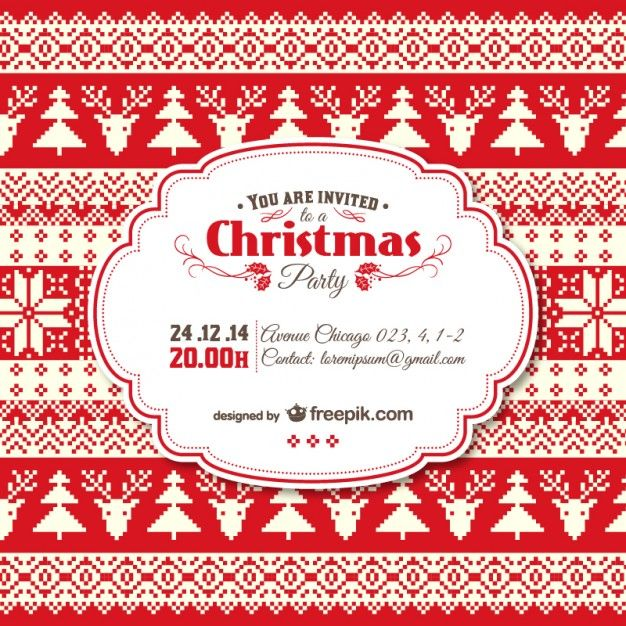 Downloadable Christmas Party Invitations Templates Free Inspiration Vintage Christmas Invitation Template Free Vector  デザイン参考 .