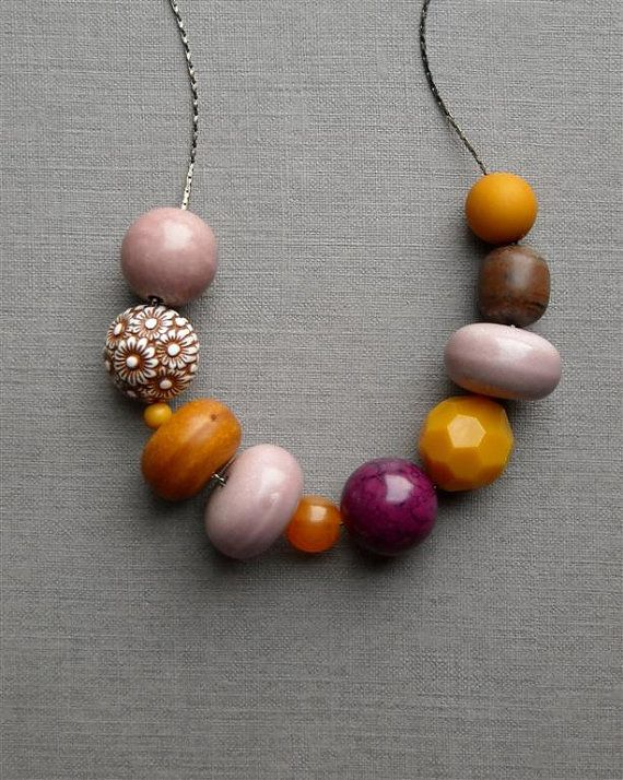 mycology necklace - vintage lucite and gunmetal