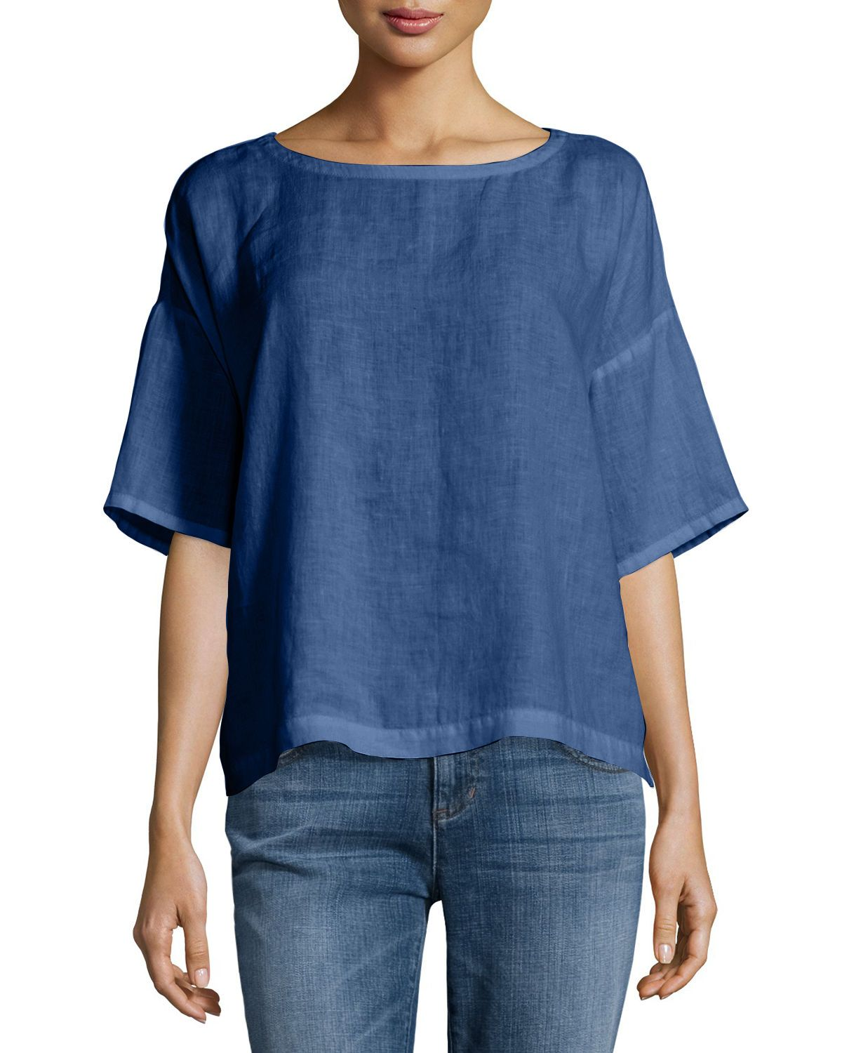 2bc7e7bd9cb Short drop-shoulder sleeves. Boxy silhouette. Pull-on style. Organic linen   machine wash. Imported.