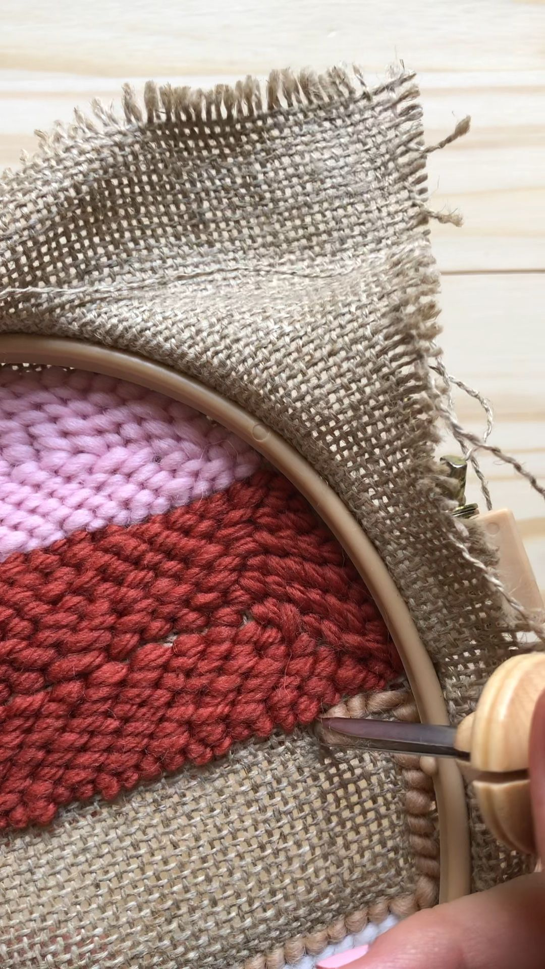 By keeping your stitches close, you make a defined line between color sections.