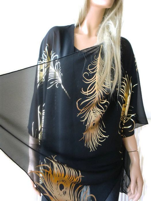 635cb7913 Boho Kimono cardigan -Black and gold with peacock feather print-Chiffon  Ruana cardigan