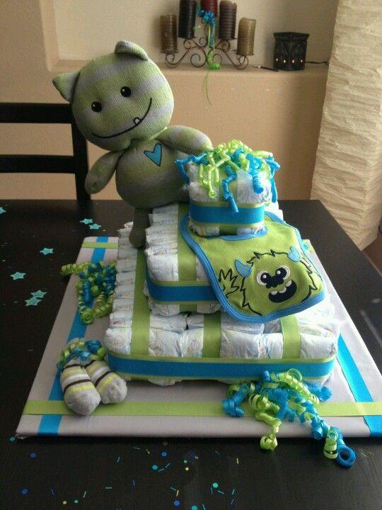Square Diaper Cake Monster Baby Shower Diaper Cake Monster Baby
