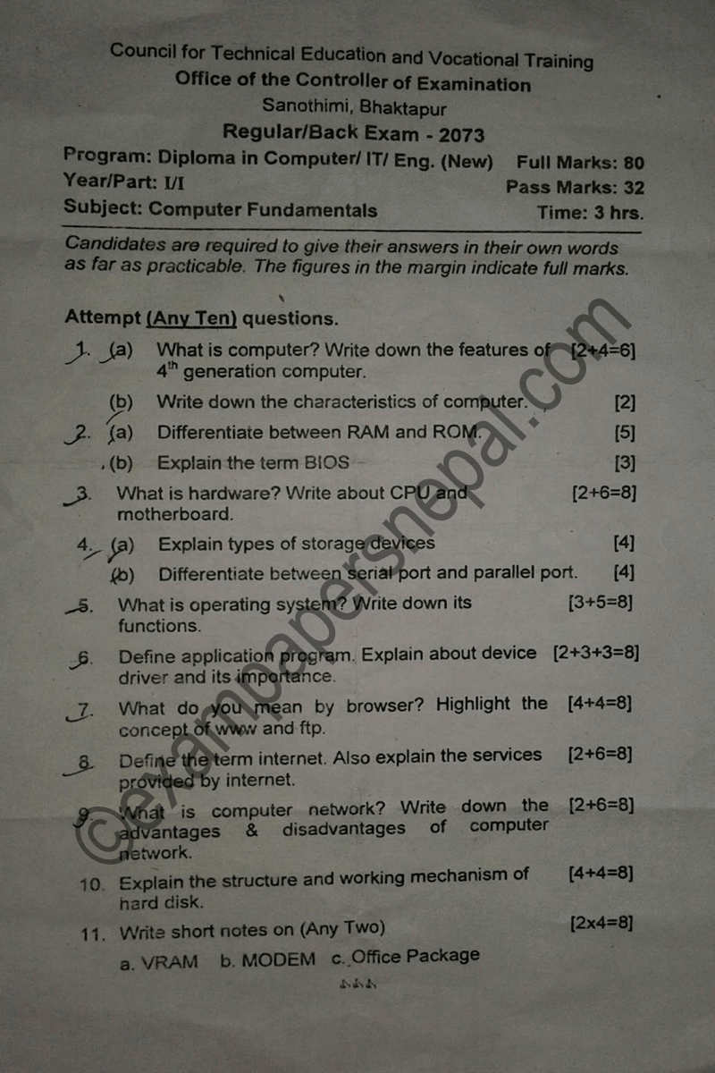 Computer fundamentals question paper 2073 ctevt diploma 1st computer fundamentals question paper 2073 ctevt diploma 1st year1st part fandeluxe Images