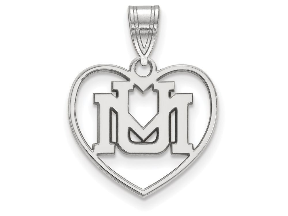 LogoArt Sterling Silver University Of Montana Pendant Necklace - Chain Included In Heart