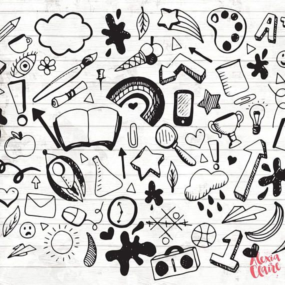 Back To School Clipart Hand Drawn Doodle Clipart Vector