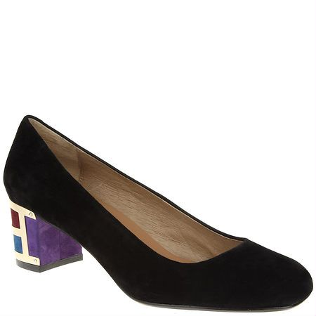 Magically delicious purple, black and geometric Nina Originals suede pumps: ninashoes.com $148