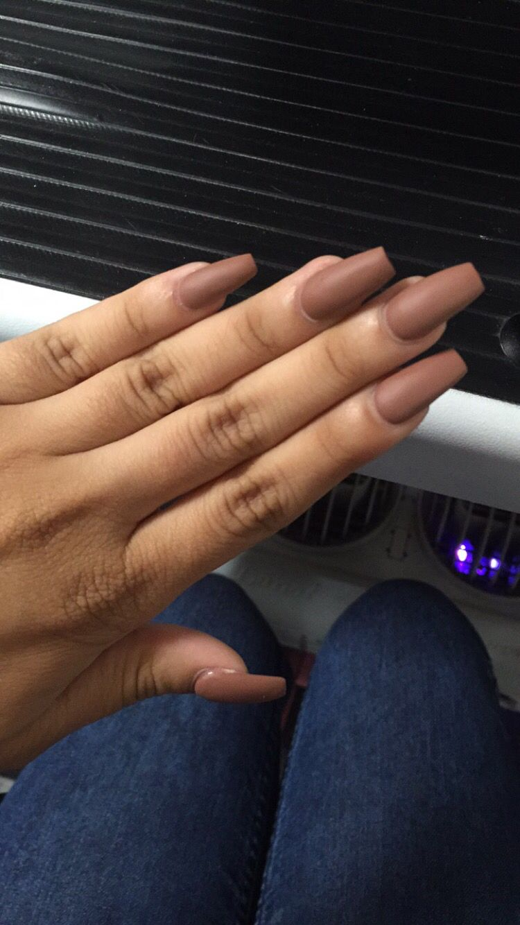 Coffin Shape brown nude matte acrylic nails | Body Accessories ...