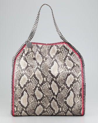 a57ed595fa52 Falabella Large Snake-Print Tote Bag