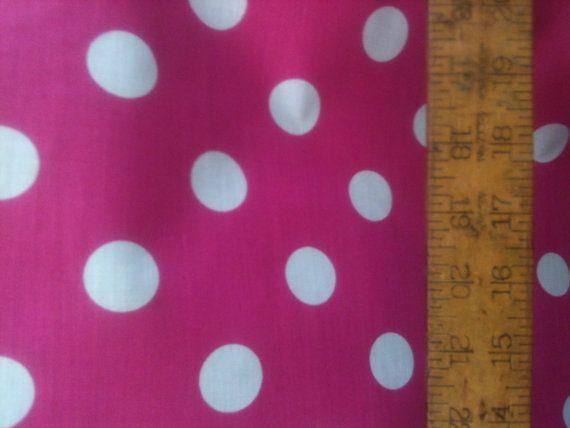 Poly Cotton Large White Polka Dot Print On Fuchsia Pink Background