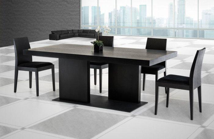 Modrest Cobalt Modern Black Oak Dining Table Contemporary Dining Furniture Modern Black Kitchen Tables Black Wood Dining Table