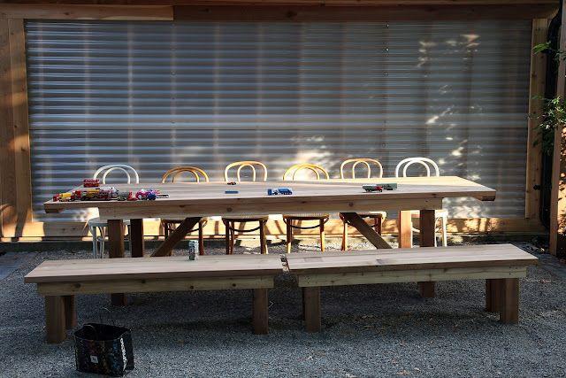 Cedar table for the backyard.