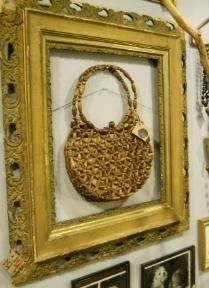 """burlap vintage"" display for Good Juju sale"